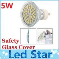 Wholesale 5w Smd Led 12v E27 - E27 MR16 GU10 5W 48pcs 3528 SMD Led Spotlights Lamp 110V 220V 12V Warm White Cool White Led Bulbs Light With Safety Glass Cover