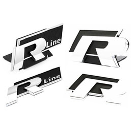 Wholesale R Line Passat - Free Shipping NEW VW R Line badge emblem Golf GTI Jetta Passat Rear Mount VW R Line Gloss Black & Chrome Logo Emblem Grill or Tr car sticker