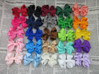 Wholesale Hair Clip Ribbon Design - New design GrosgrainTwisted Boutique ribbon bows WITH CLIPS, chirldren hair accessories,bow clips for baby hairpins 50pcs lot