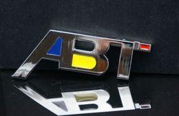 Wholesale Abt Emblem - Free Shipping ABT 3D Chrome Car Badge Decal Emblem ABT metal sticker Badge Emblem with Chrome for Audi 4x4 4WD A3 A4 A5 A6 car sticker