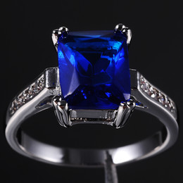 Wholesale Tanzanite Solitaire Ring - Brand Jewelry Women's Blue Tanzanite Crystal Gemstone 10KT Gold Filled Ring