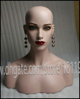 Wholesale Sexy Realistic Mannequins - Sex Human-like looking Shining and sexy lips African American Female Fiberglass Realistic mannequin head bust for human hair lace wig