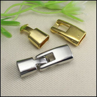 Wholesale Leather Cord End Gold - 50Set Gold Antique Silver Tone CLASP End Cap Clasp For 4.5x9.5mm Leather CORD jewelry findings