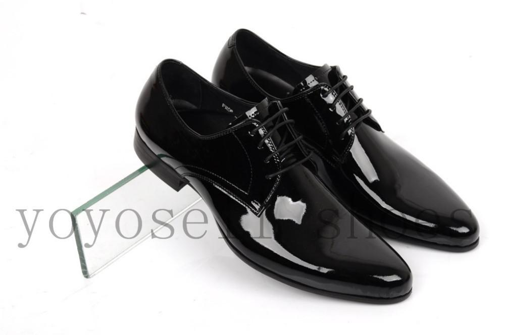New Black Fashion Shiny Mens Dress Shoes Patent Genuine Leather
