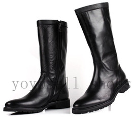 Wholesale New Mens Boots Knee High - new fashion black cool brand winter mens thigh knee high gladiator heels boots round toe genuine leather snow boots men