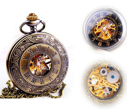 Wholesale Antique Skeleton Clocks - Hot Sale Steampunk Skeleton Mechanical Pocket Watch For Women Men Fashion Mechanical Clock Watch Roman Numeral Dial