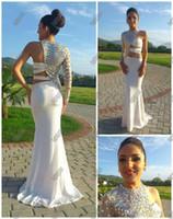 porzellan kleider großhandel-Sexy Prom Dresses 2014 Asymmetrische One Sleeve Ausgeschnittenes Abendkleid Kristall Perlen Abendkleider Ausgestaltete Pageant Kleider China Prom Kleider
