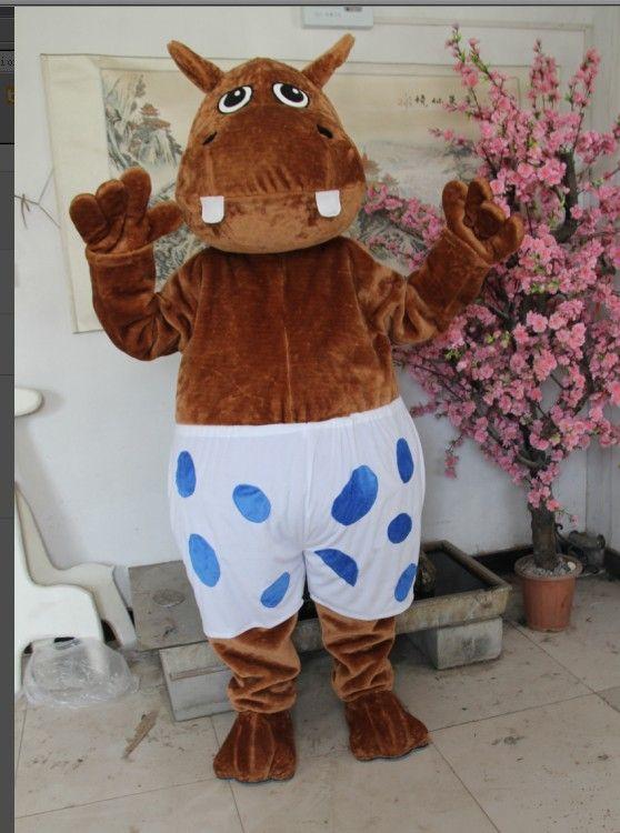 Säljare Cartoon Male Hippo Mascot Kostym! gratis frakt !
