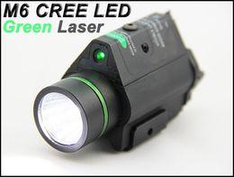 Wholesale Tactical Flashlight Picatinny Rail - Tactical M6 CREE LED Flashlight and Green Laser Combo W Picatinny Rail