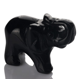 Wholesale Carved Stone Figurines - 1.5inch Black Obsidian Elephant Natural stone carved Crafts Figurine healing reiki Feng Shui free pouch