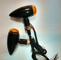 motocicleta de indicadores de bala venda por atacado-Super qualidade! Indicador preto do sinal de volta da motocicleta do metal da bala para o mini interruptor inversor de Bober de Sportster Dyna Softail