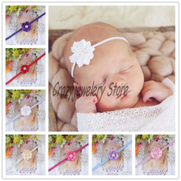 Wholesale Thin Hairbands - Newborn Thin Headbands With Polygonal cloth flower Kids Elastic Headband Baby Hair Accessories Infant Pearl Flower Hairbands Girl Headwear