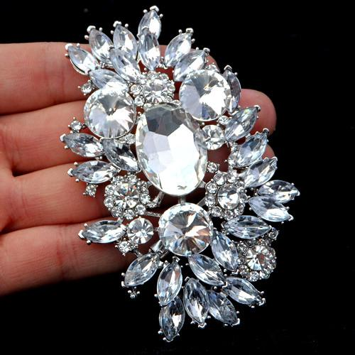 3.6 Inch Large Top Quality Flower Brooch New Arrival! Silver Tone Luxury Huge Crystal Rhinestone Wedding Bouquet Brooches