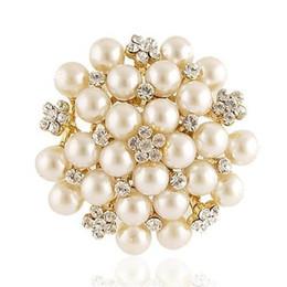 gold diamante flower brooch 2019 - Exquisite Pearl And Crystal Diamante Flower Brooch Gold Plated Wedding Bridal Bouquet Flower Brooch Women Costume Corsag