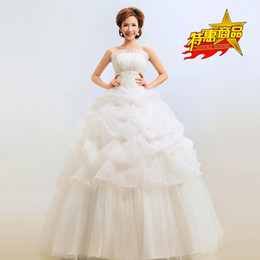 Wholesale Sweet Princess Bride Wedding Dress - W-2 Bride Wedding Dress Beatiful lace-up White Sleeveless Elegant Sweet to floor Princess Wrapped Chest Ball Gown Wedding Dress
