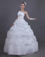 Wholesale Sweet Princess Bride Wedding Dress - W-3 Bride Wedding Dress Beatiful lace-up White Sleeveless Elegant Sweet to floor Princess Wrapped Chest Ball Gown Wedding Dress