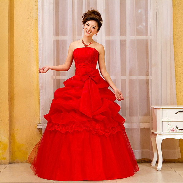 2017 Bride Wedding Dress Beatiful lace-up red Sleeveless Elegant Sweet to floor Princess Wrapped Chest Ball Gown Wedding Dress