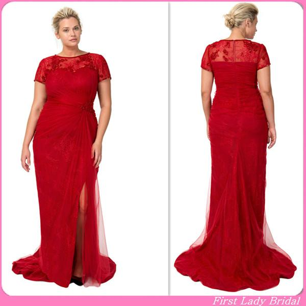 2015 Vintage Red Lace Plus Size Special Occasion Dresses Short ...
