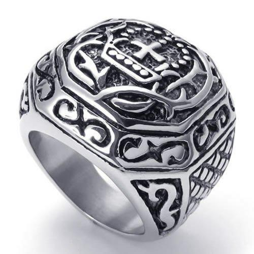 Fashion Jewelry Heavy Wide Large Stainless Steel Vintage Cross Biker Mens Ring, Black Silver US Size 7 to 13 Drop