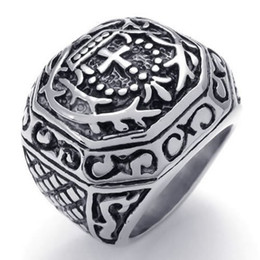 $enCountryForm.capitalKeyWord Canada - Fashion Jewelry Heavy Wide Large Stainless Steel Vintage Cross Biker Mens Ring, Black Silver US Size 7 to 13 Drop Free Shipping