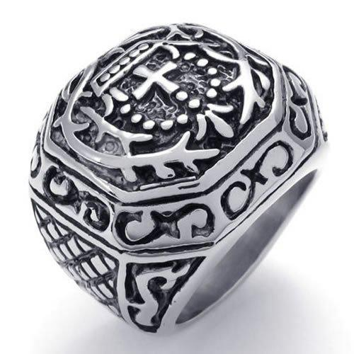 Fashion Jewelry Heavy Wide Large Stainless Steel Vintage Cross Biker Mens Ring, Black Silver US Size 7 to 13 Drop Free Shipping