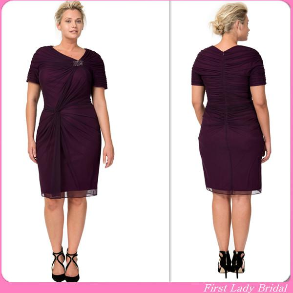 2015 Formal Burgundy Plus Size Mother Dresses Short Sleeves Knee ...