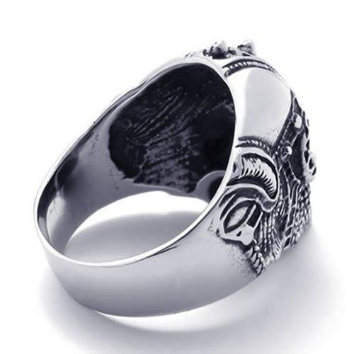 Fashion Jewelry Mens Biker Stainless Steel Skull BIG Heavy Biker Ring, Silver Black US Size 9 to 13 Drop