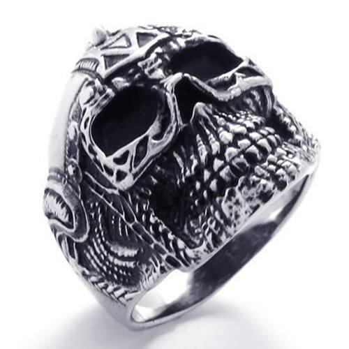 Fashion Jewelry Mens Biker Stainless Steel Skull BIG Heavy Biker Ring, Silver Black US Size 9 to 13 Drop Free Shipping