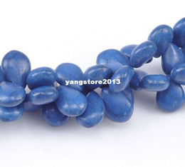 Wholesale Turquoise Religious Jewelry - New Free Shipping 5 Strands(5x65pcs) Dark Blue Howlite Turquoise Teardrop Loose Beads 14mmx10mm diy jewelry making