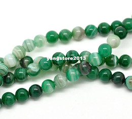 Wholesale Green Gemstones Loose - 1Strand(about 45PCs) Green Agate Gemstone Round Loose Beads 8mm