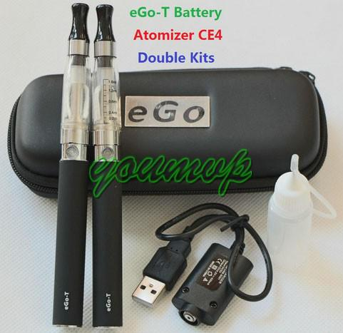 Double eGo CE4 Colorful Zipper ego case electronic cigarette starter kits with CE4 atomizer ego t battery mutli color optional