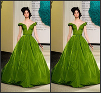 Wholesale Beautiful Unique Prom Dresses - Unique Design Vintage Green Off-Shoulder Prom Dress Ball Gown 2014 Deep V-Neck Long Formal Evening Dress Quinceanera Dress Beautiful