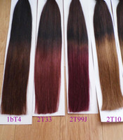 "Wholesale Single Human Hair Extensions - MIRACLE 18"" 20"" 1g s 100g 1bT33# MICRO NANO RING HAIR ombre two tone dip dye T color hair extensions Indian Remy HAIR Human single drawn"
