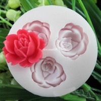 Wholesale Rose Cup Cake Mold - 3D Rose Flowers Fondant Cake Cookie Chocolate Soap Mold Cutter Modelling Tools#25520