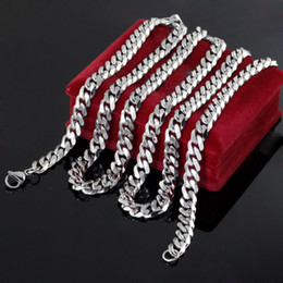 Wholesale Mens 8mm Silver Chain - 20-40 inches Silver Tone 8mm Curb Link Necklace Polished Stainless steel Mens Fashion Jewelry 24''