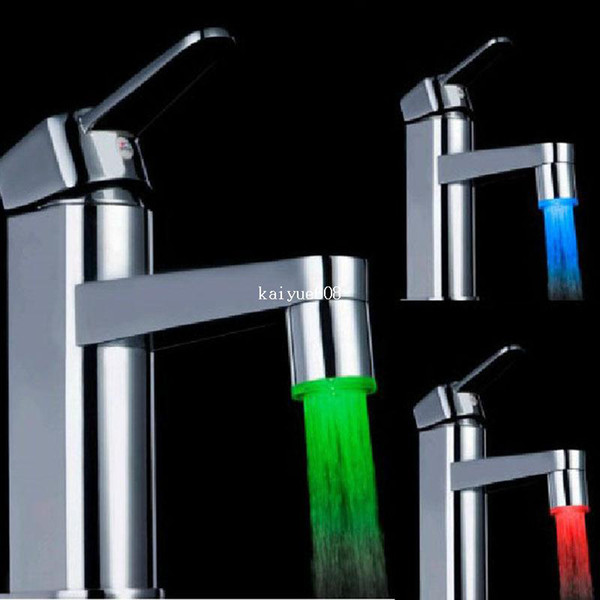 top popular LED Water Faucet Light Temperature Sensor automatic Red Blue Green 3 Color for Kitchen Bathroom #11105 2021