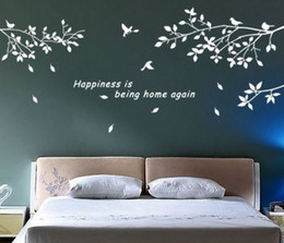 DIY Removable Mural Decal Wall Sticker Trees Branches Birds Art Vinyl Decor  Black,White 2 Colors Stickers Art Wallpaper Cheap White Tree Wall Mural