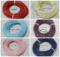 Wholesale Leather Yard Wholesale - MIC 100 Yards 2mm Round Oxhide Real Leather Cord 6 Color Jewelry DIY (z015)