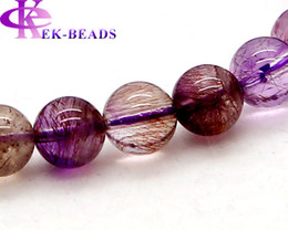 Wholesale Multi Stretch Bracelets - Wholesale Natural Genuine Clear Purple Pink Multi Colors Mix Super Seven Stretch Bracelet Round Melody Stone Beads 9mm Three backbone 02856
