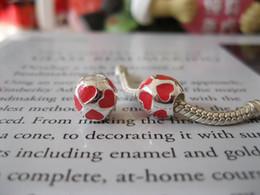 Wholesale Genuine Pandora Charms 925 Ale - Love you Enamel Hearts Charm Genuine 925 ALE Sterling Silver Charms Fit European Pandora Style Bracelets