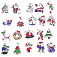 Wholesale Enamel Christmas - Christmas Wholesale lots 20PcsXSilver-tone Mix Unique Enamel Christmas Charms Pendants EKmix1
