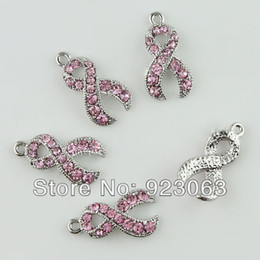 pink cancer awareness beads Promo Codes - Wholesale 20pcs lot Pink Rhinestone Crystal Ribbon Breast Cancer Awareness 18K Plated Charms Pendant Beads To Make Jewelry