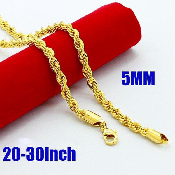 """New Design Noble Jewelry 24K Gold Plated 5MM Twist Rope Chain Necklace 20"""" Fashion Hot Sale Free Shipping"""