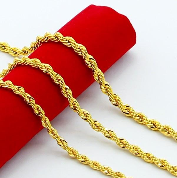 """New Design Noble Jewelry 24K Gold Plated 5MM Twist Rope Chain Necklace 20"""" Fashion Hot Sale"""
