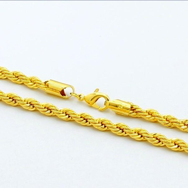 Новый дизайн Noble Ювелирные Изделия 24K Позолоченные 5 мм Твист Веревка Ожерелье 20