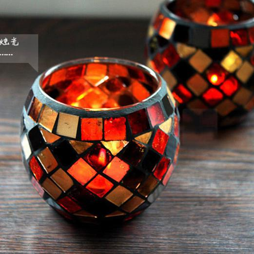 Mosaic Handicraft Glass Candle Holder Color Tea Light Candlestick Windproof Aroma Oil Candle Cup Home Decoration 4pcs/lot SH297