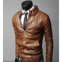 Wholesale Short Brown Leather Jackets - New Spring Autumn Mens PU Leather Jacket Short Slim Leisure Wash Male Outwear Coat High Quality Casual Motorcycle Jacket