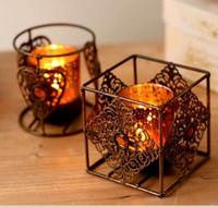 wedding candles table decorations achat en gros de-5pcs / lot Style Bohème Vintage Art Bronze Bougeoirs Pour Table De Mariage Décoration Home Decor Livraison Gratuite