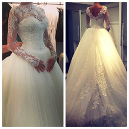 Wholesale Ivory Memaid Wedding Dresses - High Neck Lace Long Sleeves Beaded A-Line Elegant Princess Wedding Dress Applique Backless Court Train Memaid Wedding Gowns