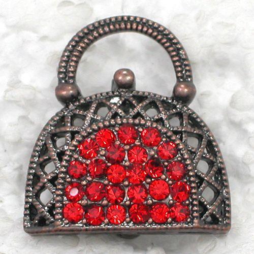 Vente en gros Mode Broche Strass Délicat petit sac Femme Sac à main Cadeau Pin broches C101130